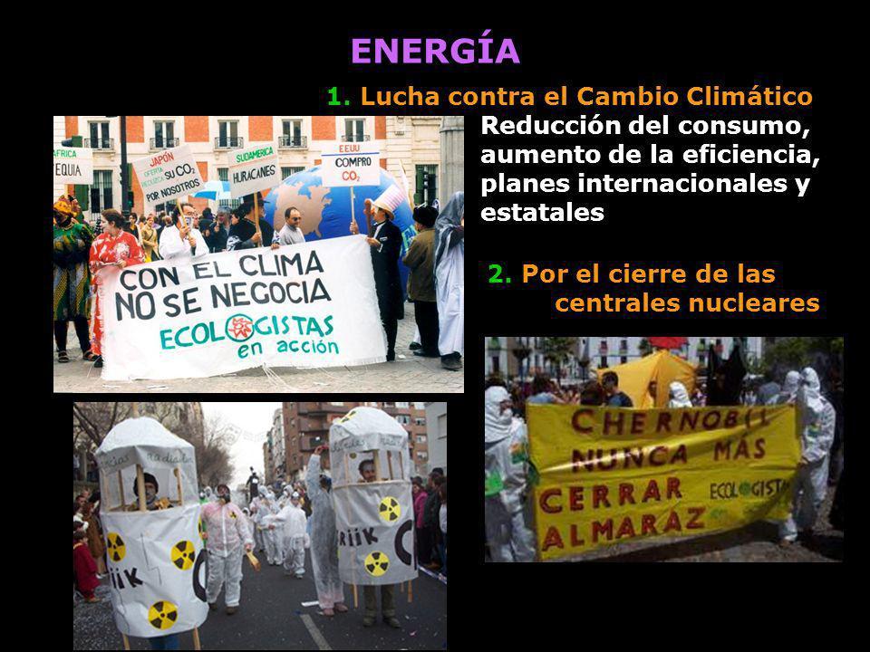 ENERGÍA 2. Por el cierre de las centrales nucleares 1. Lucha contra el Cambio Climático Reducción del consumo, aumento de la eficiencia, planes intern
