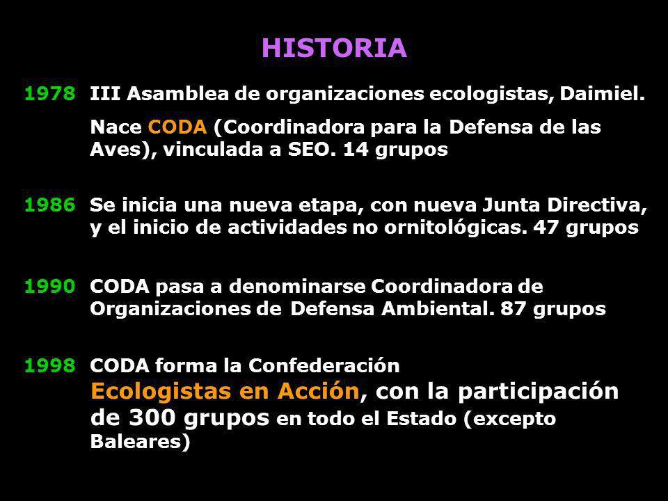 1998CODA forma la Confederación Ecologistas en Acción, con la participación de 300 grupos en todo el Estado (excepto Baleares) HISTORIA 1978 III Asamb