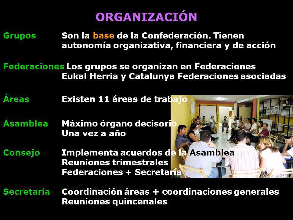 ORGANIZACIÓN Grupos CONFEDERACIÓN Federaciones Áreas temáticas estatales Coordinación trabajo diario Asamblea anual Consejo Confederal Secretaría Confederal Órganos de coordinación estatal