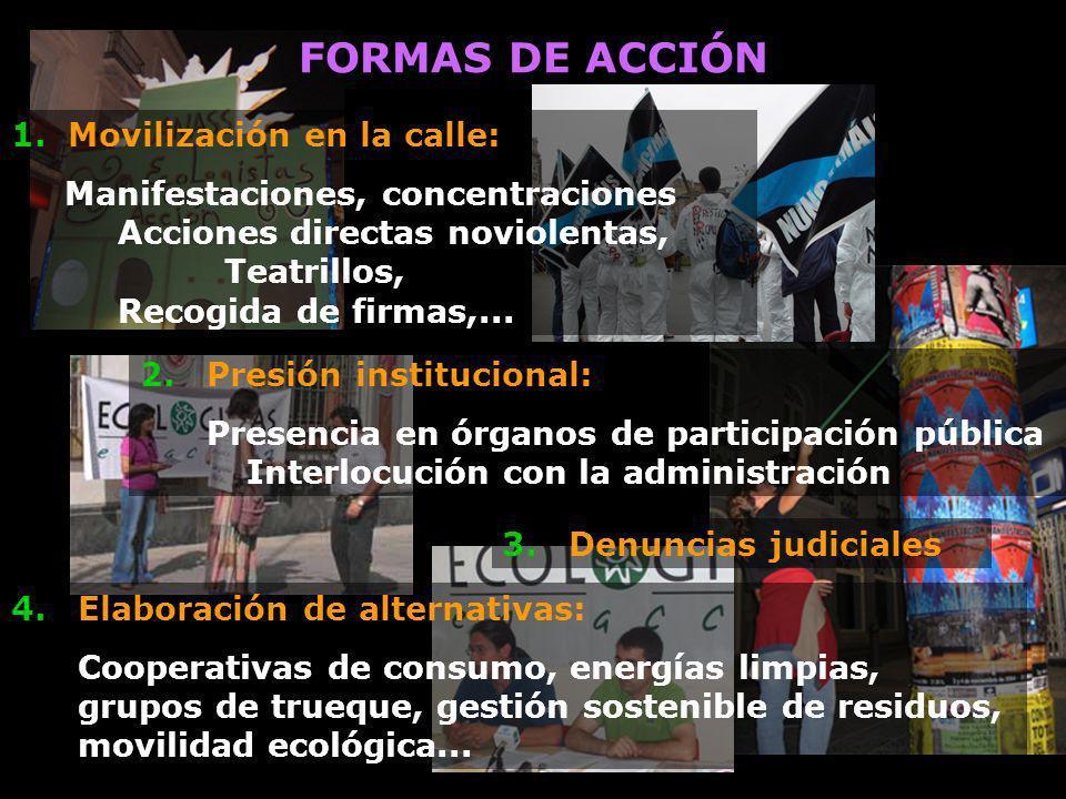 1. Movilización en la calle: Manifestaciones, concentraciones Acciones directas noviolentas, Teatrillos, Recogida de firmas,... 3.Denuncias judiciales