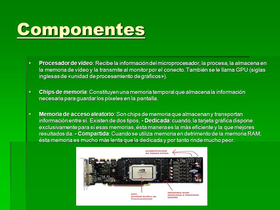Componentes Procesador de vídeo: Recibe la información del microprocesador, la procesa, la almacena en la memoria de vídeo y la transmite al monitor p
