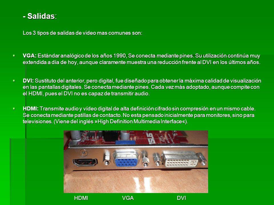 - Salidas: Los 3 tipos de salidas de video mas comunes son: VGA: Estándar analógico de los años 1990, Se conecta mediante pines. Su utilización contin