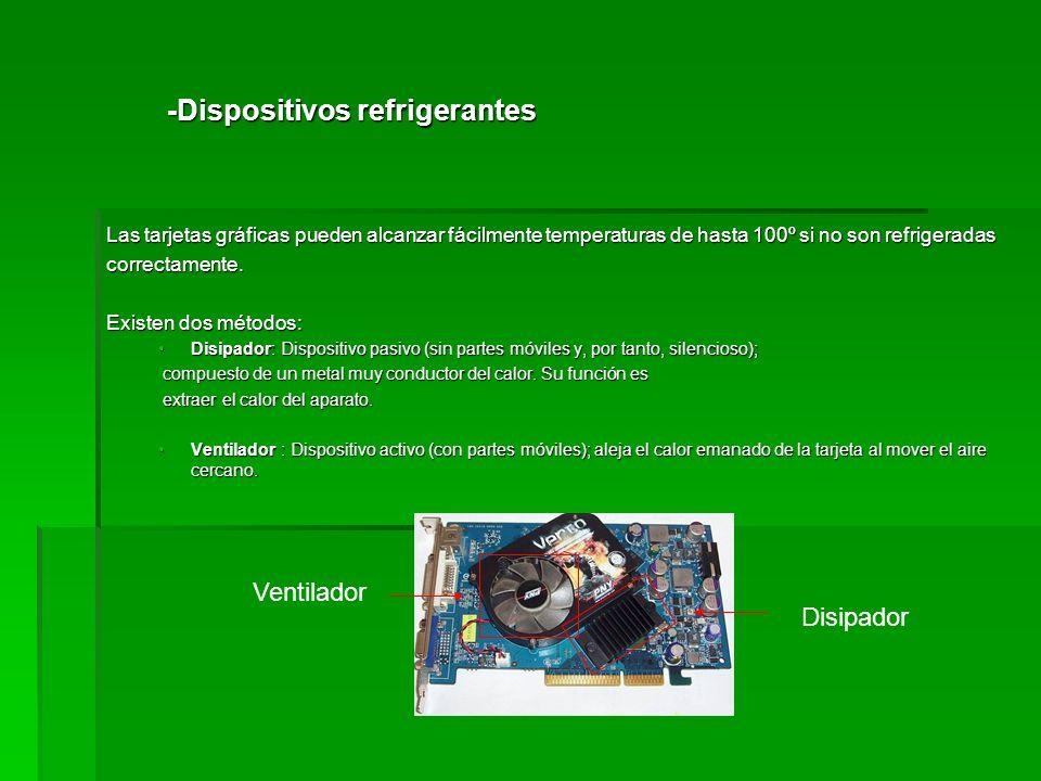 -Dispositivos refrigerantes Las tarjetas gráficas pueden alcanzar fácilmente temperaturas de hasta 100º si no son refrigeradas correctamente. Existen
