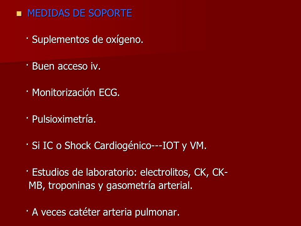 MEDIDAS DE SOPORTE MEDIDAS DE SOPORTE · Suplementos de oxígeno. · Suplementos de oxígeno. · Buen acceso iv. · Buen acceso iv. · Monitorización ECG. ·
