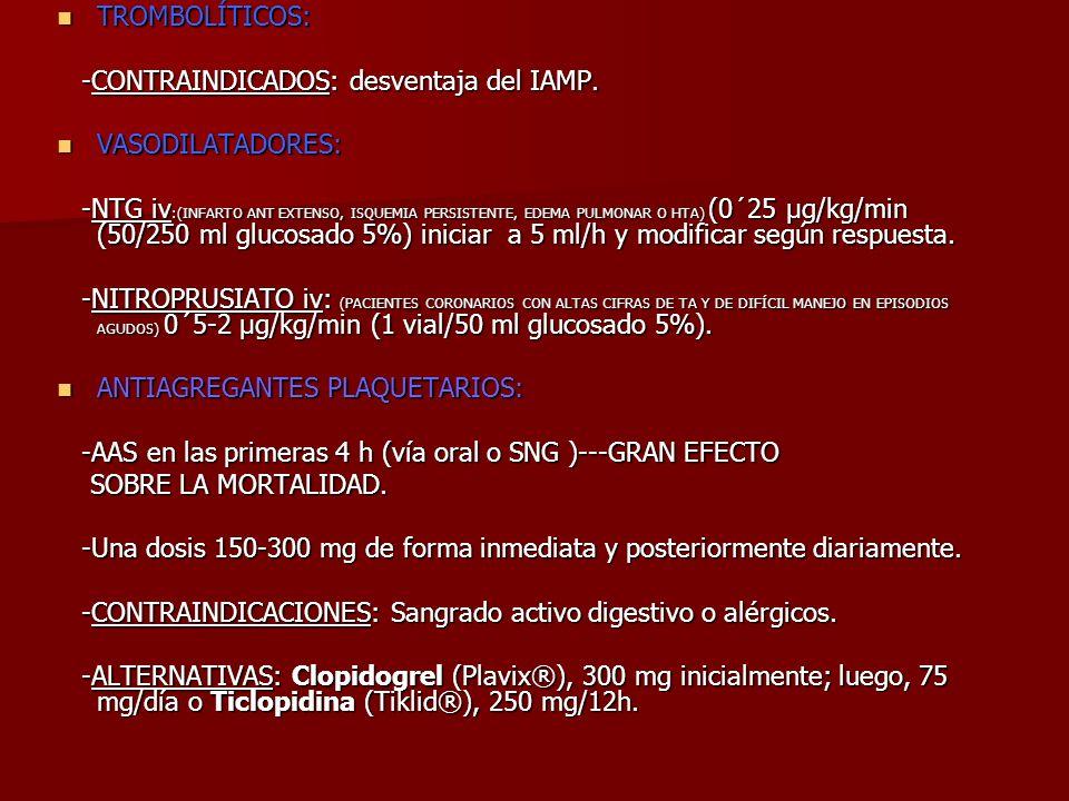 TROMBOLÍTICOS: TROMBOLÍTICOS: -CONTRAINDICADOS: desventaja del IAMP. -CONTRAINDICADOS: desventaja del IAMP. VASODILATADORES: VASODILATADORES: -NTG iv