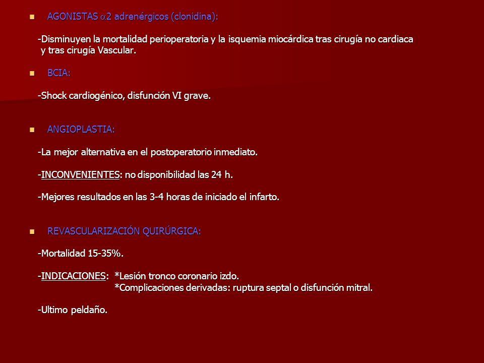 AGONISTAS 2 adrenérgicos (clonidina): AGONISTAS 2 adrenérgicos (clonidina): -Disminuyen la mortalidad perioperatoria y la isquemia miocárdica tras cir