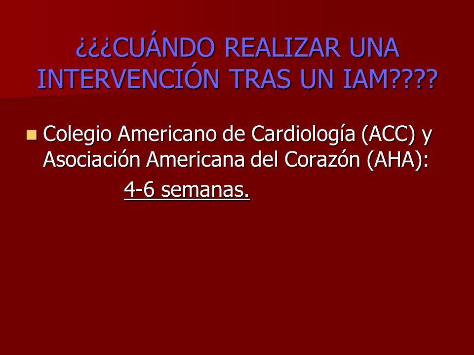 ¿¿¿CUÁNDO REALIZAR UNA INTERVENCIÓN TRAS UN IAM???? Colegio Americano de Cardiología (ACC) y Asociación Americana del Corazón (AHA): Colegio Americano