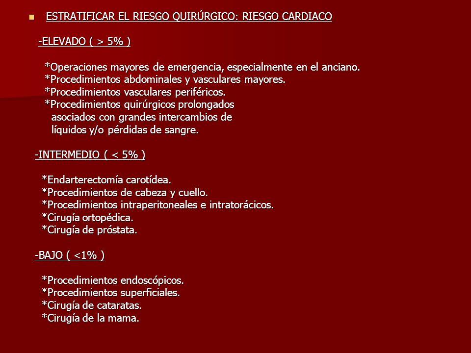 ESTRATIFICAR EL RIESGO QUIRÚRGICO: RIESGO CARDIACO ESTRATIFICAR EL RIESGO QUIRÚRGICO: RIESGO CARDIACO -ELEVADO ( > 5% ) -ELEVADO ( > 5% ) *Operaciones