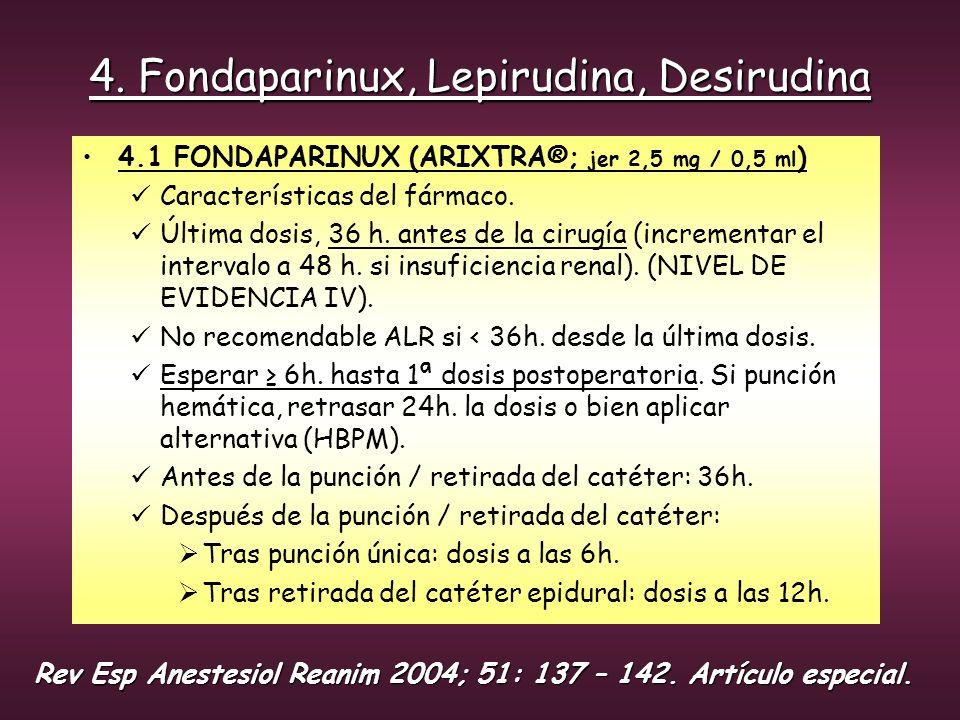 4. Fondaparinux, Lepirudina, Desirudina 4.1 FONDAPARINUX (ARIXTRA®; jer 2,5 mg / 0,5 ml ) Características del fármaco. Última dosis, 36 h. antes de la