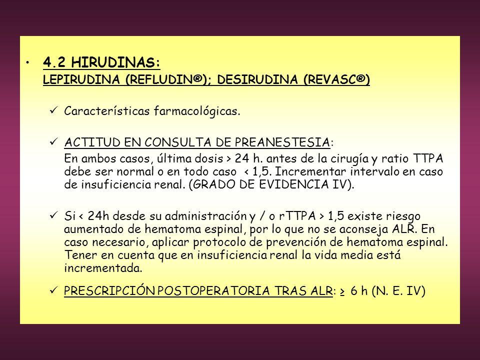 4.2 HIRUDINAS: LEPIRUDINA (REFLUDIN®); DESIRUDINA (REVASC®) Características farmacológicas. ACTITUD EN CONSULTA DE PREANESTESIA: En ambos casos, últim