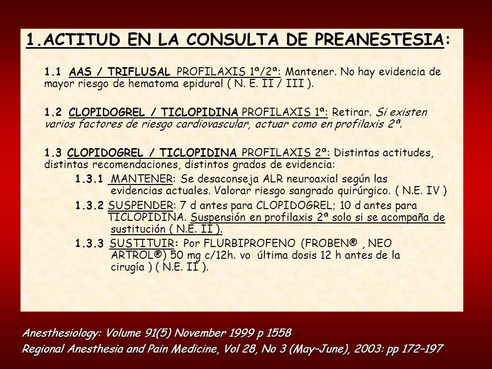 1.ACTITUD EN LA CONSULTA DE PREANESTESIA: 1.1 AAS / TRIFLUSAL PROFILAXIS 1ª/2ª: Mantener. No hay evidencia de mayor riesgo de hematoma epidural ( N. E