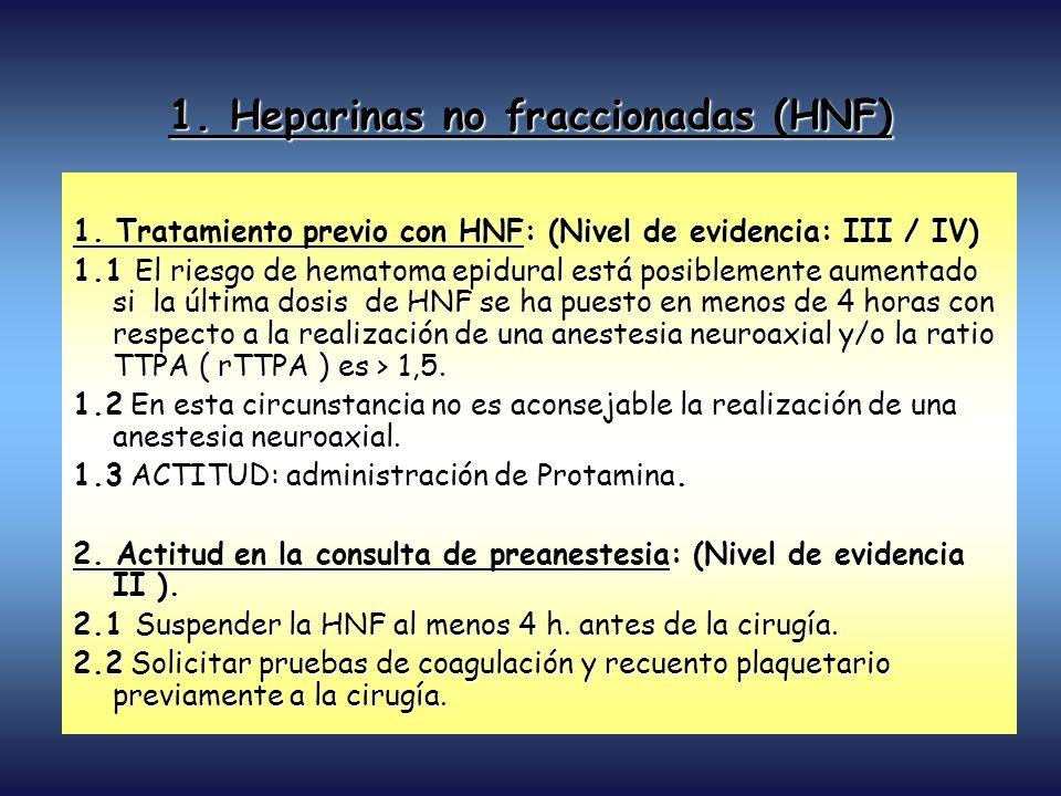 1. Tratamiento previo con HNF: (Nivel de evidencia: III / IV) 1.1 El riesgo de hematoma epidural está posiblemente aumentado si la última dosis de HNF