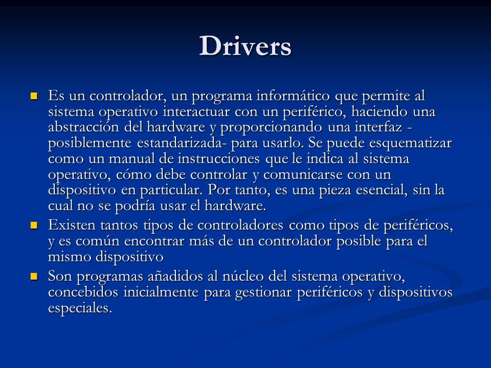 Drivers Es un controlador, un programa informático que permite al sistema operativo interactuar con un periférico, haciendo una abstracción del hardware y proporcionando una interfaz - posiblemente estandarizada- para usarlo.