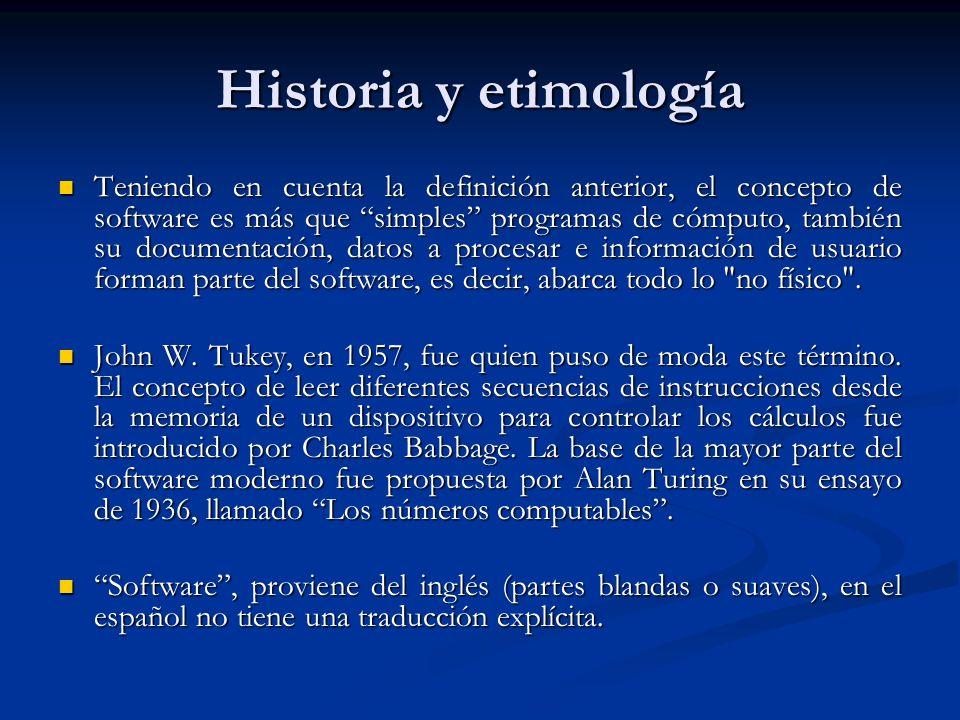 Historia y etimología Teniendo en cuenta la definición anterior, el concepto de software es más que simples programas de cómputo, también su documentación, datos a procesar e información de usuario forman parte del software, es decir, abarca todo lo no físico .