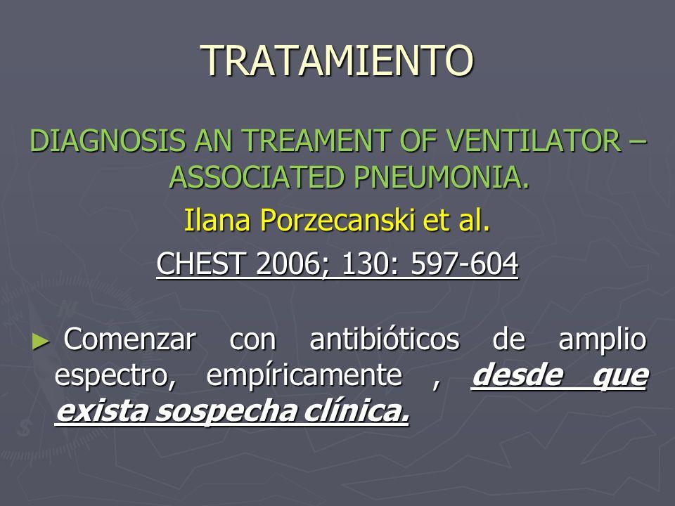 TRATAMIENTO DIAGNOSIS AN TREAMENT OF VENTILATOR – ASSOCIATED PNEUMONIA. Ilana Porzecanski et al. CHEST 2006; 130: 597-604 Comenzar con antibióticos de