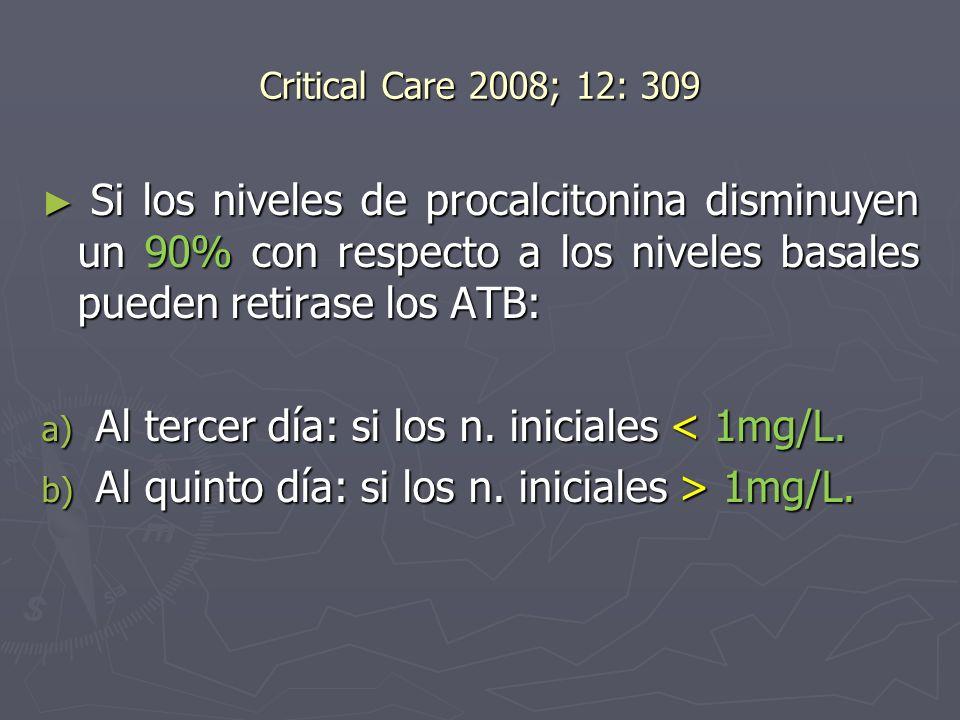 Critical Care 2008; 12: 309 Si los niveles de procalcitonina disminuyen un 90% con respecto a los niveles basales pueden retirase los ATB: Si los nive