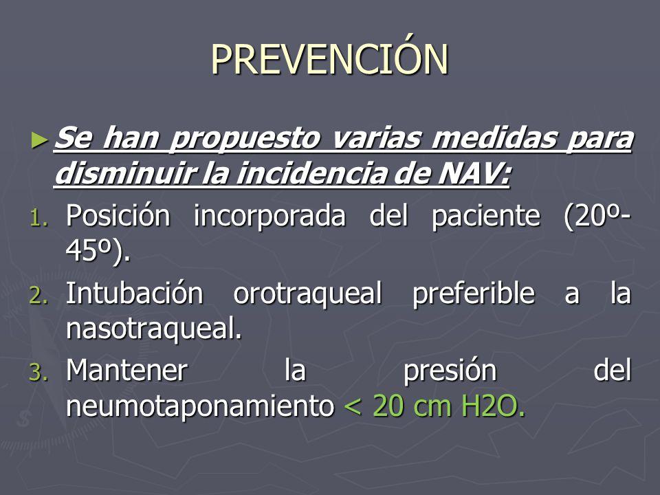 PREVENCIÓN Se han propuesto varias medidas para disminuir la incidencia de NAV: Se han propuesto varias medidas para disminuir la incidencia de NAV: 1