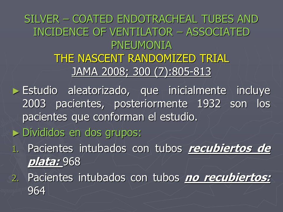 SILVER – COATED ENDOTRACHEAL TUBES AND INCIDENCE OF VENTILATOR – ASSOCIATED PNEUMONIA THE NASCENT RANDOMIZED TRIAL JAMA 2008; 300 (7):805-813 Estudio