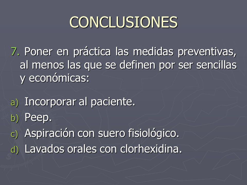 CONCLUSIONES 7. Poner en práctica las medidas preventivas, al menos las que se definen por ser sencillas y económicas: a) Incorporar al paciente. b) P