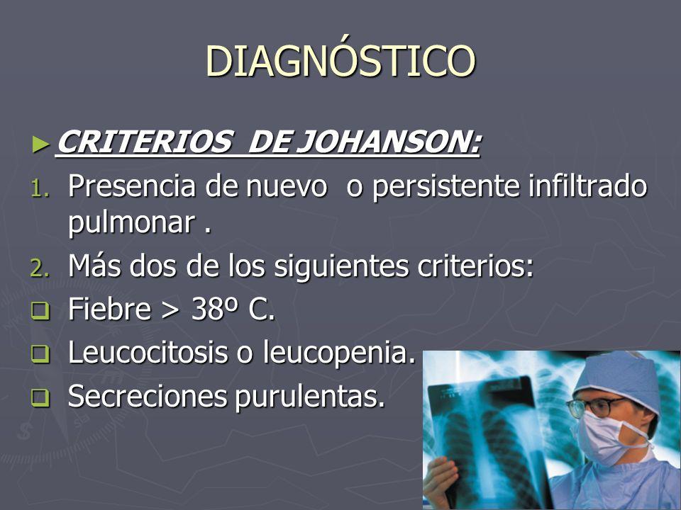 DIAGNÓSTICO CRITERIOS DE JOHANSON: CRITERIOS DE JOHANSON: 1. Presencia de nuevo o persistente infiltrado pulmonar. 2. Más dos de los siguientes criter