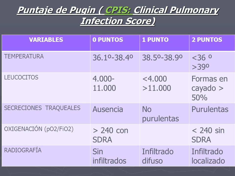 Puntaje de Pugin ( CPIS: Clinical Pulmonary Infection Score) VARIABLES0 PUNTOS1 PUNTO2 PUNTOS TEMPERATURA 36.1º-38.4º38.5º-38.9º 39º LEUCOCITOS 4.000-