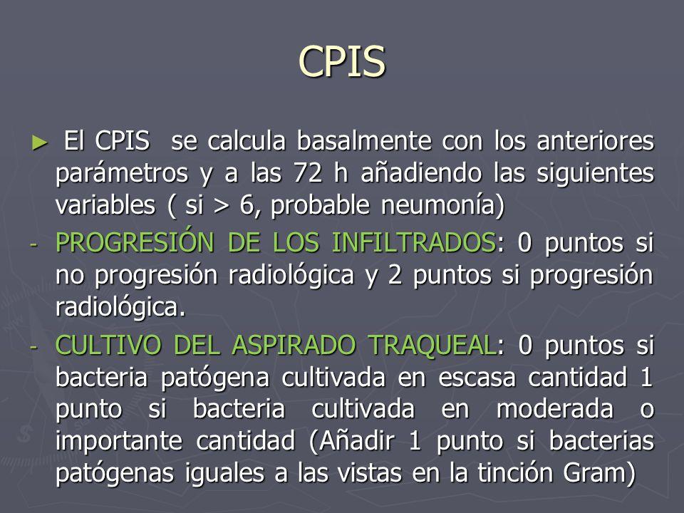 CPIS El CPIS se calcula basalmente con los anteriores parámetros y a las 72 h añadiendo las siguientes variables ( si > 6, probable neumonía) El CPIS