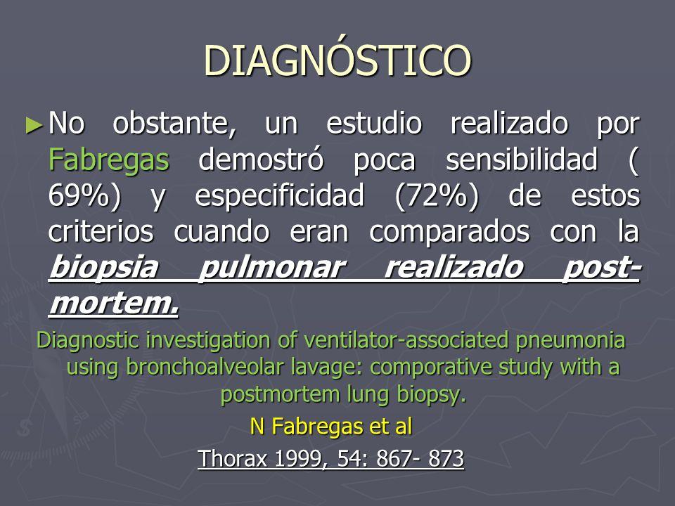 DIAGNÓSTICO No obstante, un estudio realizado por Fabregas demostró poca sensibilidad ( 69%) y especificidad (72%) de estos criterios cuando eran comp