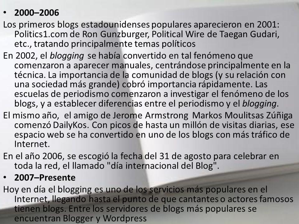 . Tras un comienzo lento, los blogs ganaron popularidad rápidamente; el uso de blogs se difundió durante 1999 y los siguientes años, siendo muy popula