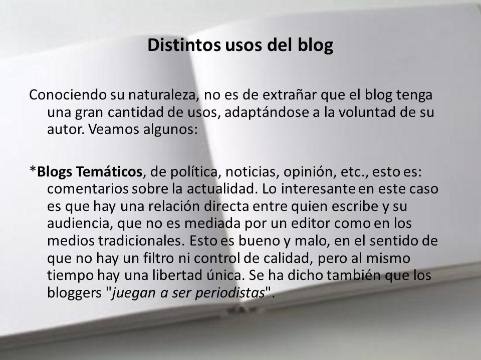 2000–2006 Los primeros blogs estadounidenses populares aparecieron en 2001: Politics1.com de Ron Gunzburger, Political Wire de Taegan Gudari, etc., tratando principalmente temas políticos En 2002, el blogging se había convertido en tal fenómeno que comenzaron a aparecer manuales, centrándose principalmente en la técnica.