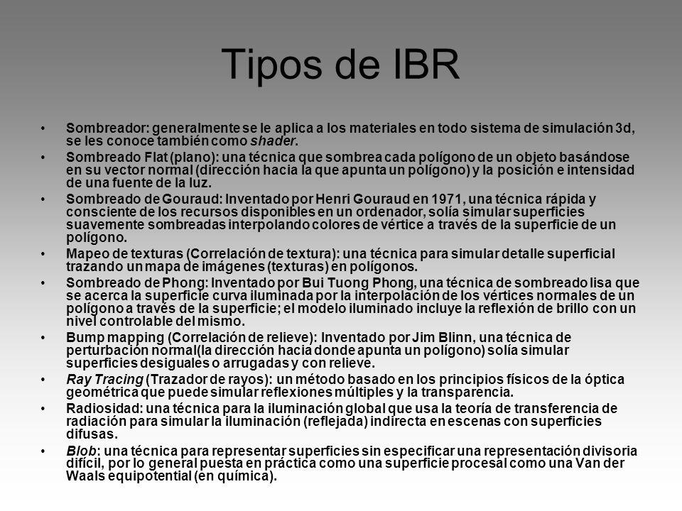 Tipos de IBR Sombreador: generalmente se le aplica a los materiales en todo sistema de simulación 3d, se les conoce también como shader. Sombreado Fla