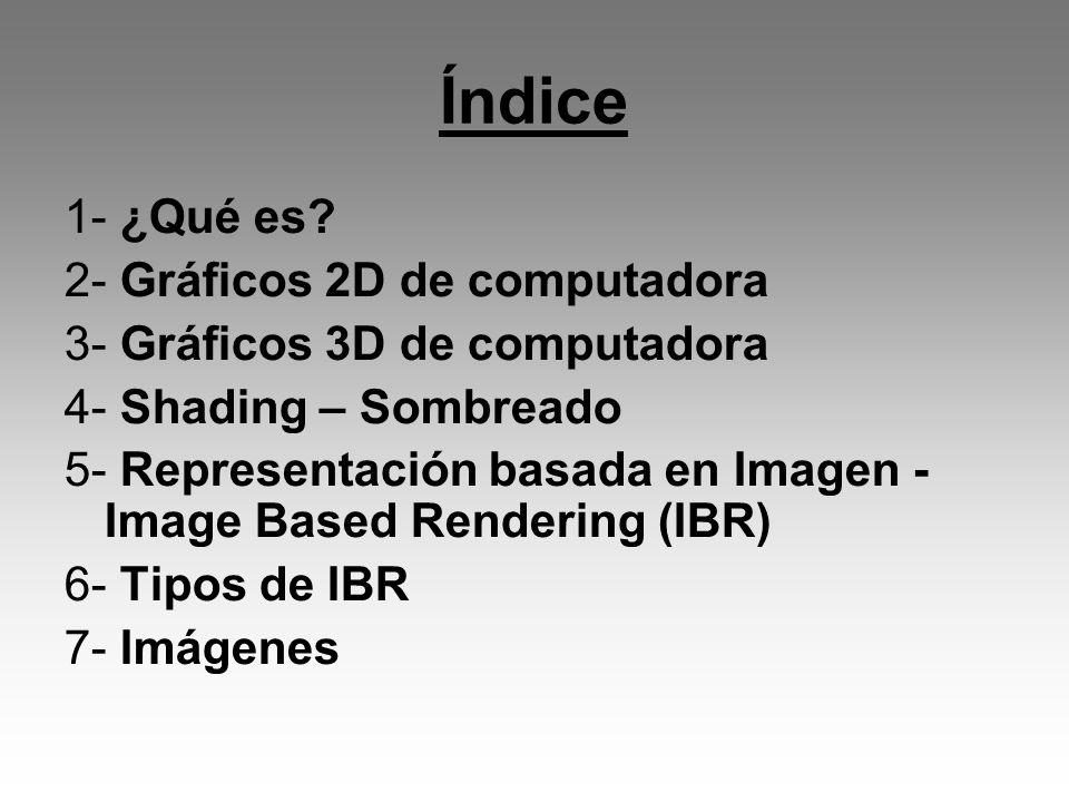 Índice 1- ¿Qué es? 2- Gráficos 2D de computadora 3- Gráficos 3D de computadora 4- Shading – Sombreado 5- Representación basada en Imagen - Image Based