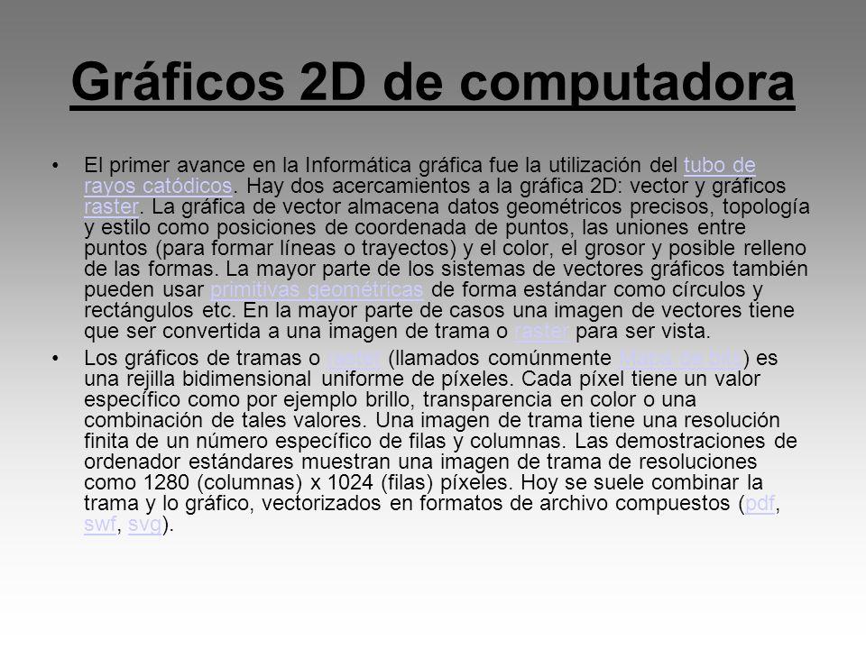 Gráficos 2D de computadora El primer avance en la Informática gráfica fue la utilización del tubo de rayos catódicos. Hay dos acercamientos a la gráfi