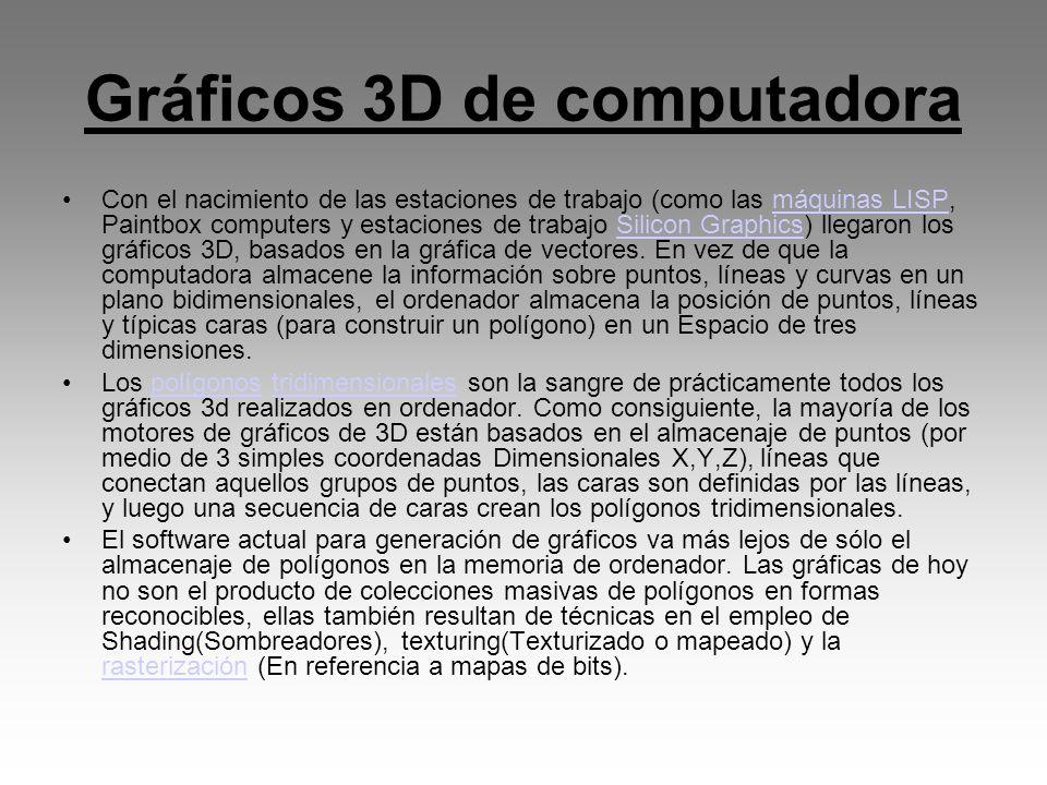 Gráficos 3D de computadora Con el nacimiento de las estaciones de trabajo (como las máquinas LISP, Paintbox computers y estaciones de trabajo Silicon
