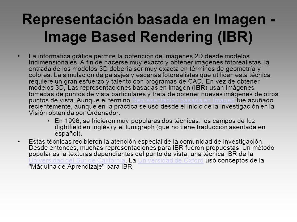 Representación basada en Imagen - Image Based Rendering (IBR) La informática gráfica permite la obtención de imágenes 2D desde modelos tridimensionale