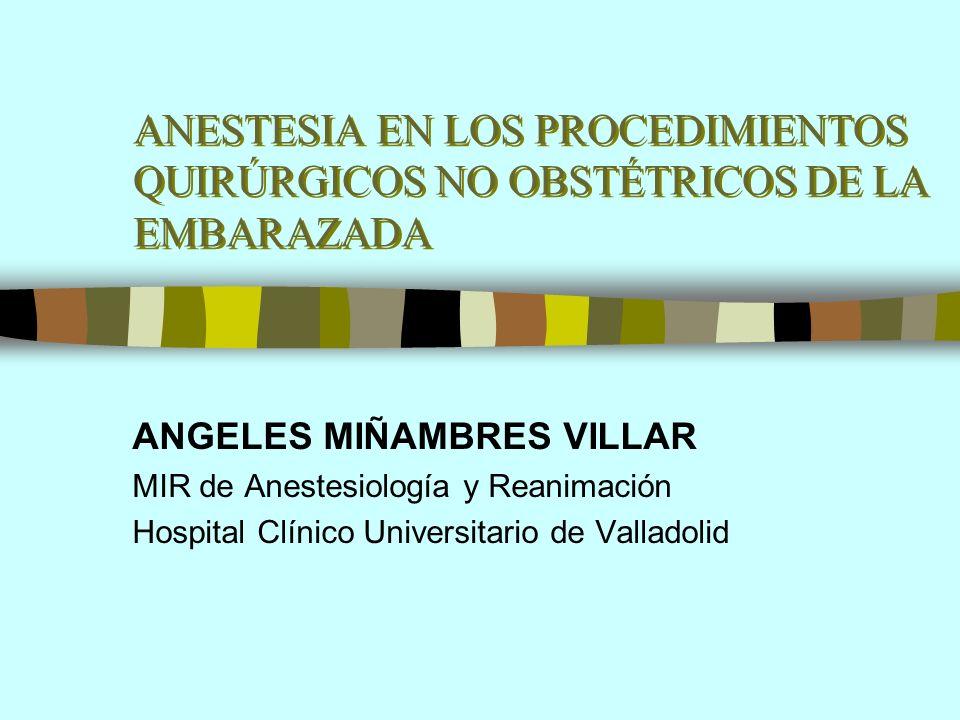 ANESTESIA EN LOS PROCEDIMIENTOS QUIRÚRGICOS NO OBSTÉTRICOS DE LA EMBARAZADA ANGELES MIÑAMBRES VILLAR MIR de Anestesiología y Reanimación Hospital Clín