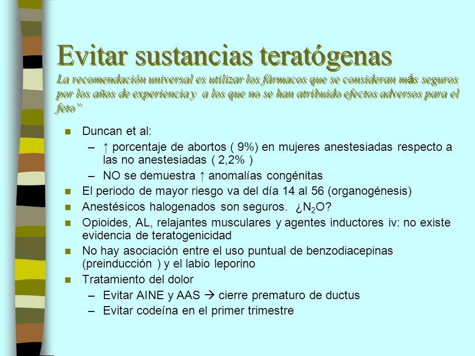 Evitar sustancias teratógenas La recomendación universal es utilizar los fármacos que se consideran m á s seguros por los años de experiencia y a los