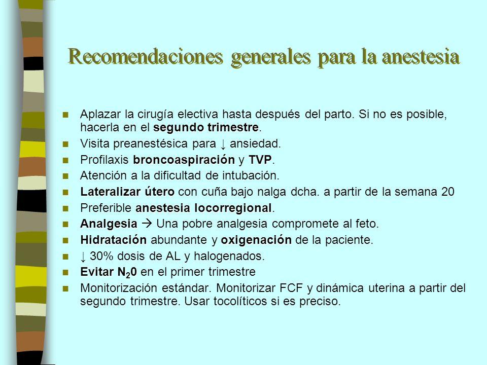 Recomendaciones generales para la anestesia segundo trimestre Aplazar la cirugía electiva hasta después del parto. Si no es posible, hacerla en el seg