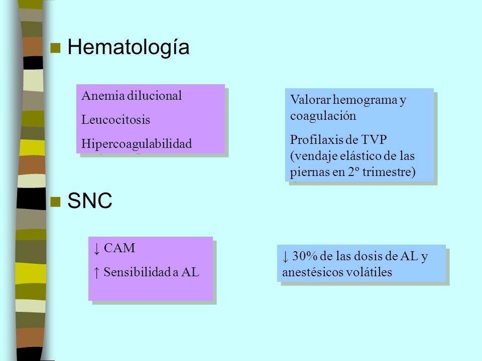 Hematología SNC Anemia dilucional Leucocitosis Hipercoagulabilidad Anemia dilucional Leucocitosis Hipercoagulabilidad Valorar hemograma y coagulación