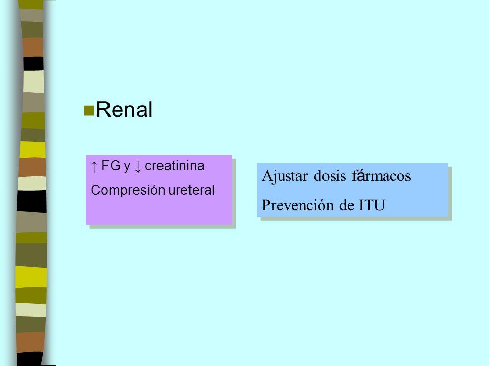 Renal FG y creatinina Compresión ureteral FG y creatinina Compresión ureteral Ajustar dosis f á rmacos Prevención de ITU Ajustar dosis f á rmacos Prev