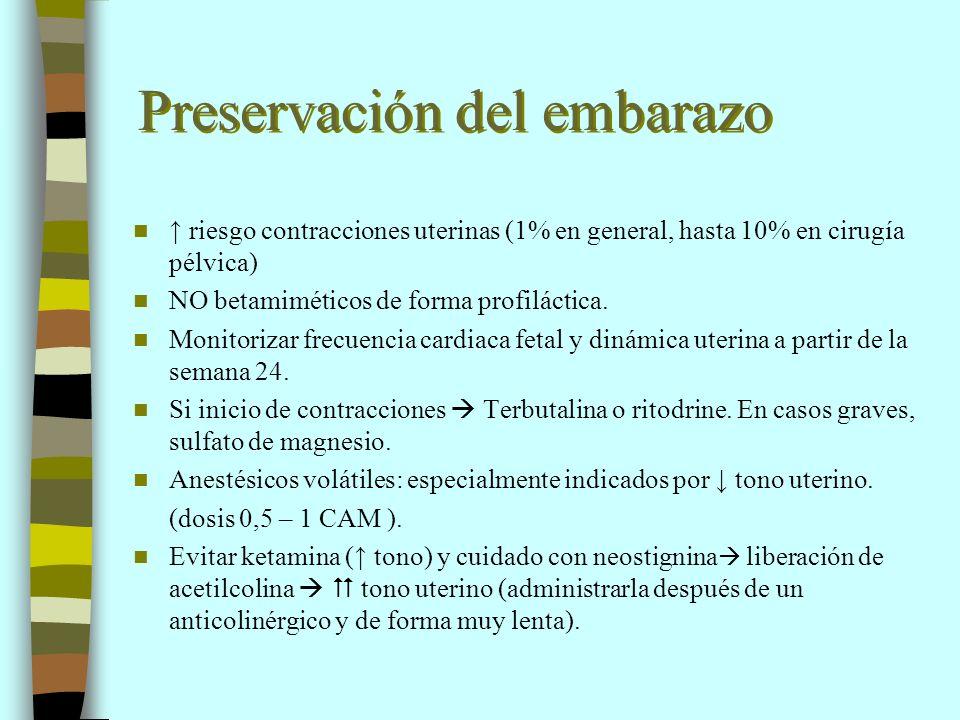 Preservación del embarazo riesgo contracciones uterinas (1% en general, hasta 10% en cirugía pélvica) NO betamiméticos de forma profiláctica. Monitori