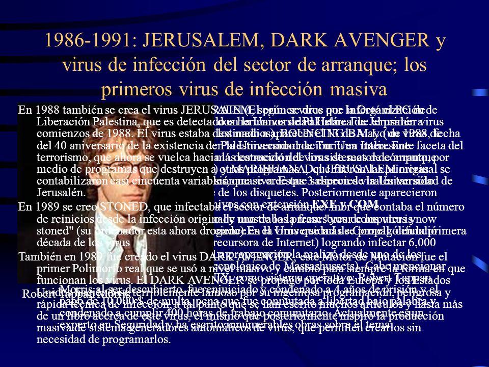 1986-1991: JERUSALEM, DARK AVENGER y virus de infección del sector de arranque; los primeros virus de infección masiva En 1986 se difundieron los viru