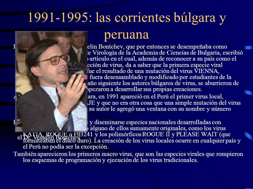 1991-1995: las corrientes búlgara y peruana En Junio de 1991 el Dr. Vesselin Bontchev, que por entonces se desempeñaba como director del Laboratorio d