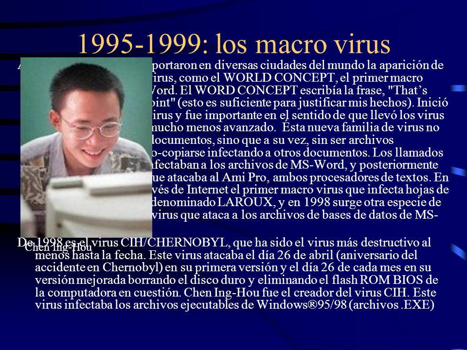 1995-1999: los macro virus A mediados de 1995 se reportaron en diversas ciudades del mundo la aparición de una nueva familia de virus, como el WORLD C