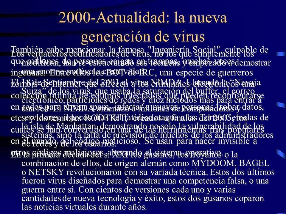 2000-Actualidad: la nueva generación de virus Los verdaderos codificadores de virus, no los que simplemente los modifican, han re-estructurado sus téc