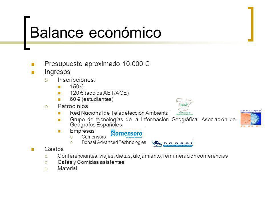 Balance económico Presupuesto aproximado 10.000 Ingresos Inscripciones: 150 120 (socios AET/AGE) 60 (estudiantes) Patrocinios Red Nacional de Teledetección Ambiental Grupo de tecnologías de la Información Geográfica.