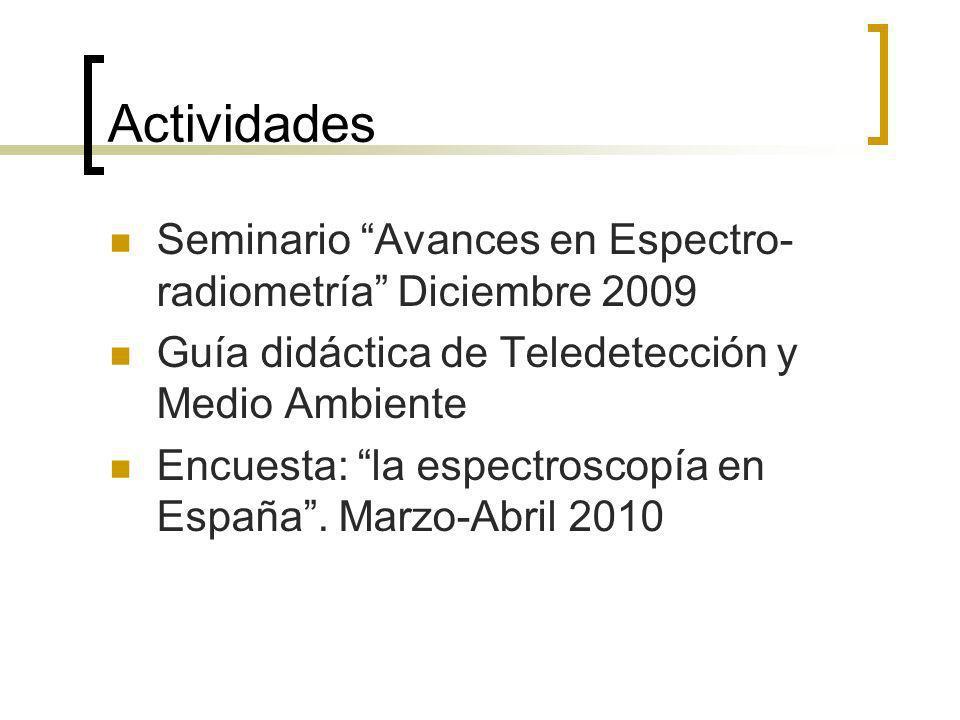Actividades Seminario Avances en Espectro- radiometría Diciembre 2009 Guía didáctica de Teledetección y Medio Ambiente Encuesta: la espectroscopía en España.