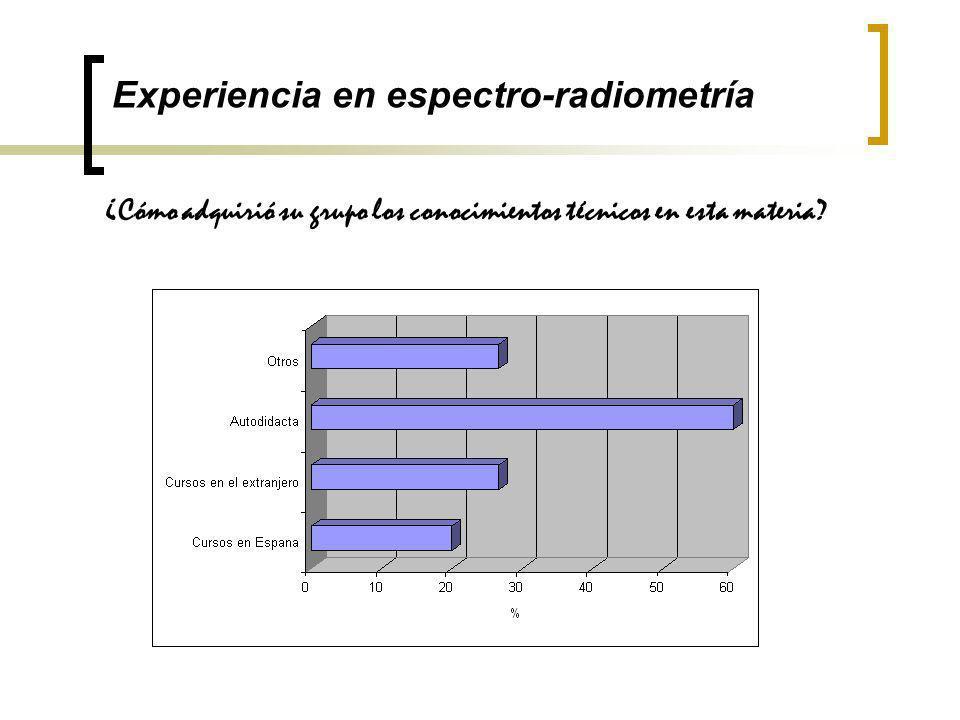 Experiencia en espectro-radiometría ¿Cómo adquirió su grupo los conocimientos técnicos en esta materia?