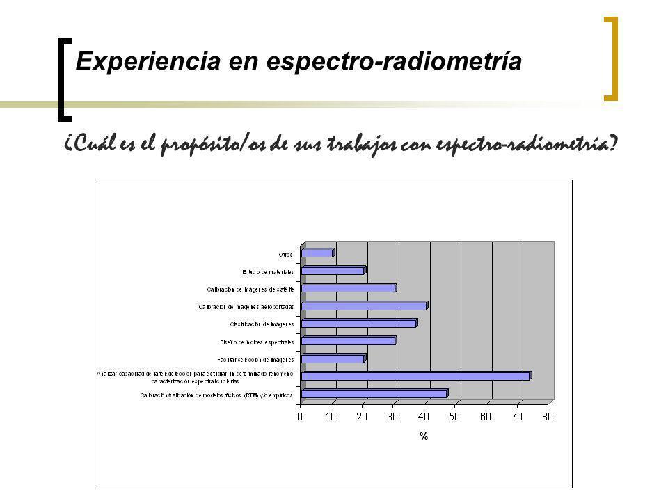 Experiencia en espectro-radiometría ¿Cuál es el propósito/os de sus trabajos con espectro-radiometría?