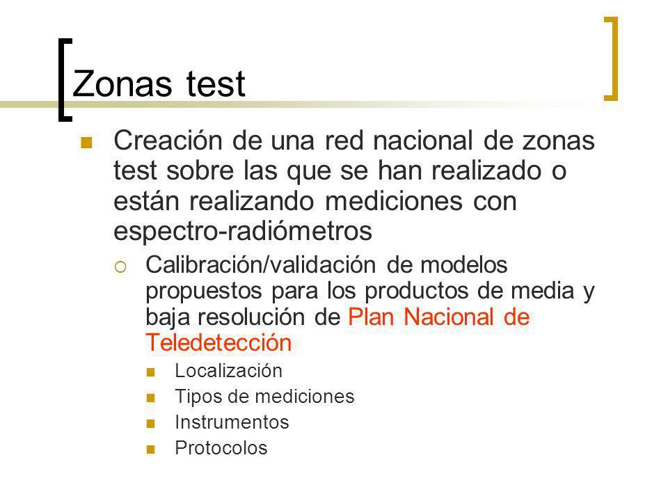 Zonas test Creación de una red nacional de zonas test sobre las que se han realizado o están realizando mediciones con espectro-radiómetros Calibración/validación de modelos propuestos para los productos de media y baja resolución de Plan Nacional de Teledetección Localización Tipos de mediciones Instrumentos Protocolos