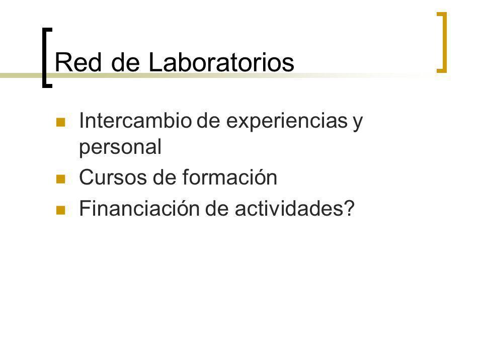 Red de Laboratorios Intercambio de experiencias y personal Cursos de formación Financiación de actividades?